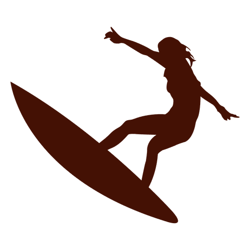 Surfing girl open arms Transparent PNG