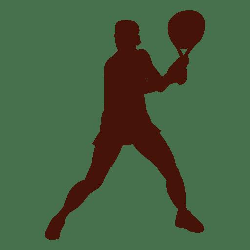 Jugador de tenis jugando silueta Transparent PNG