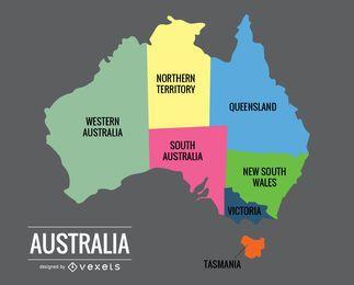 Vetor de mapa de Austrália