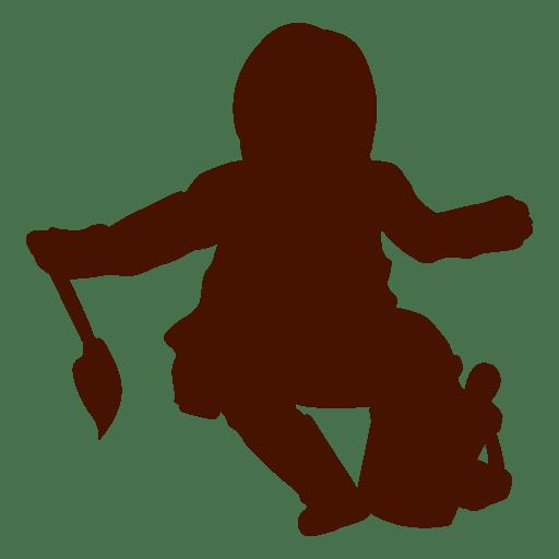 Bebé sentado con silueta de juguetes