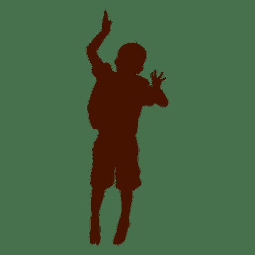 Niño saltando y bailando silueta Transparent PNG