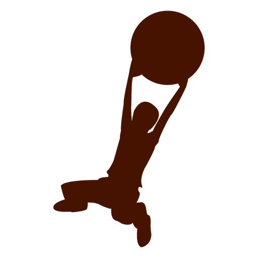 Boy jumping with ball silhouette Transparent PNG