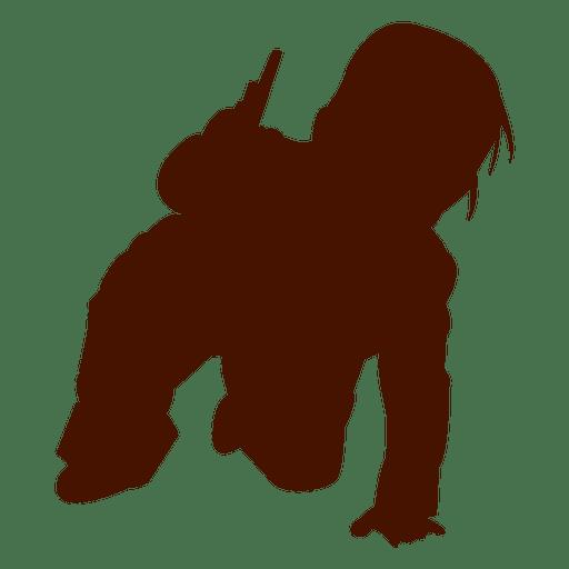 Niño jugando silueta de rodillas