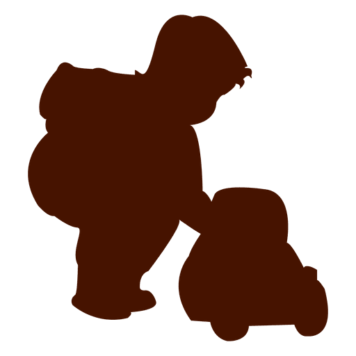 Child playing with a toy silhouette - Transparent PNG ...