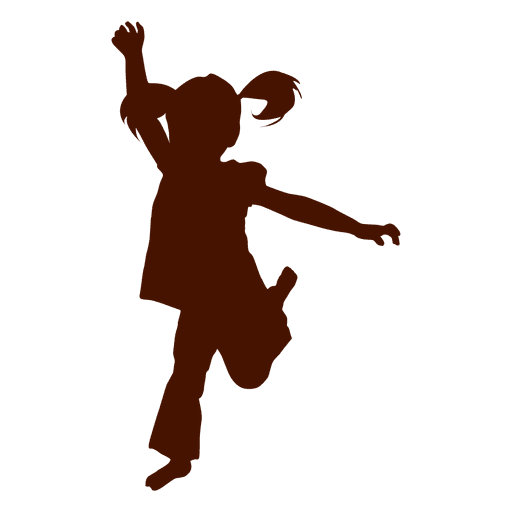 Girl playing and jumping silhouette -  4.8KB