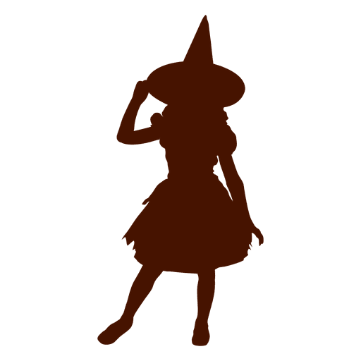 Silueta de niña de disfraz de bruja