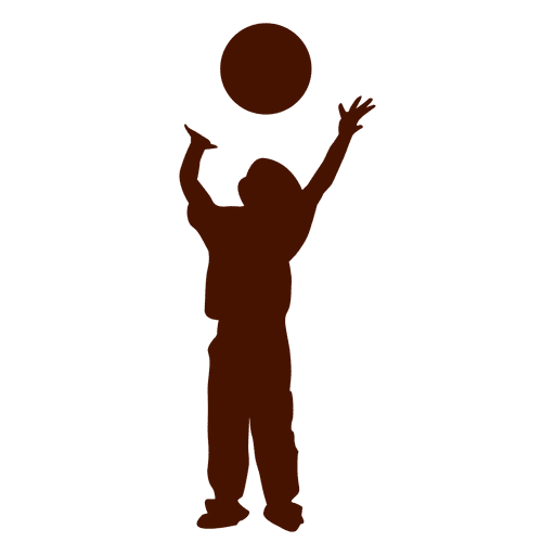 Kid playing throwing ball silhouette Transparent PNG