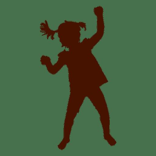 Kleines Mädchen tanzen Schattenbild Transparent PNG