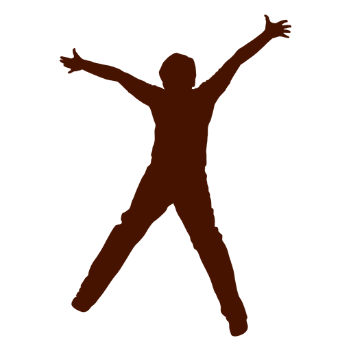 Teen boy jumping with open arms silhouette Transparent PNG