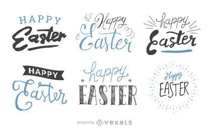 Satz handgeschriebene Ostern-Aufkleber