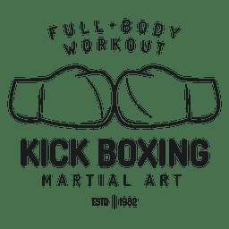 Rótulo de luta de kickboxing de boxe