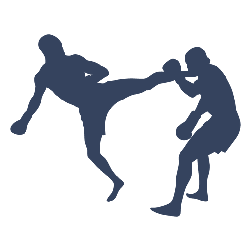 Boxing kickboxing fight silhouette