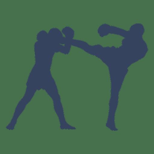 Luta de boxe kickboxing silhueta azul Transparent PNG