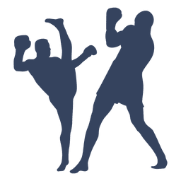 Boxing kickboxing silhouette fight