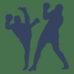 Luta de boxe silhueta de kickboxing