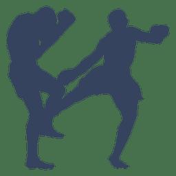 Silhueta de esporte de boxe kickboxing