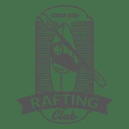 Insignia de la etiqueta de hipster de rafting en canoa