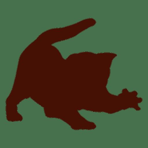 Gato mascota enojado silueta