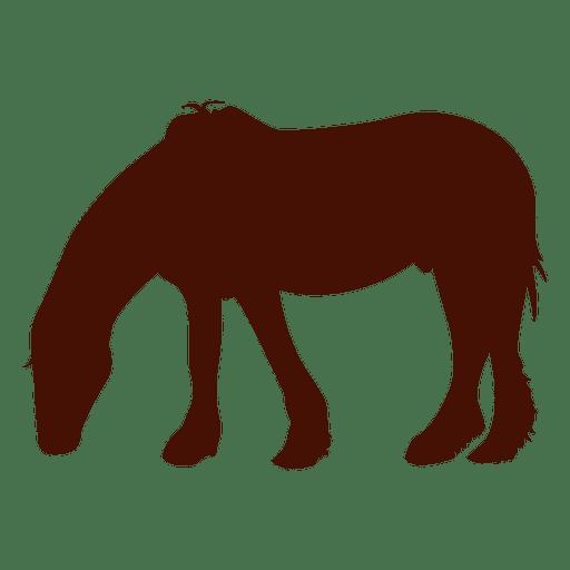 Granja de caballos comiendo silueta Transparent PNG