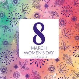 Diseño floral del día de las mujeres de la acuarela