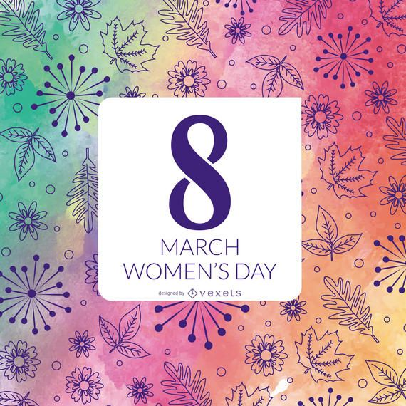 Floral watercolor Women's Day design