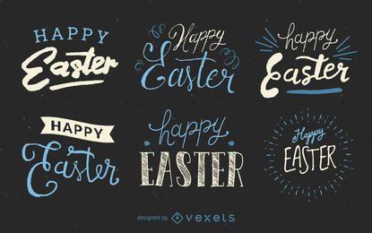 Conjunto de etiquetas de Pascua escritas a mano