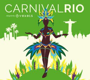 Cartel del bailarín del carnaval de Río