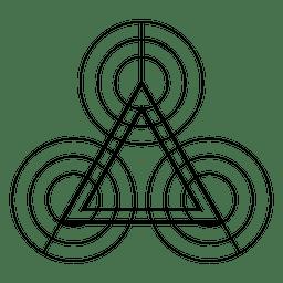 Forma de geometría de triángulos y círculos.