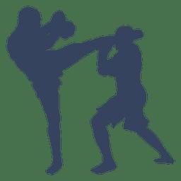 Silhueta da luta de boxe kickboxing