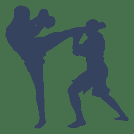 Luta de kickboxing de boxe de silhueta Transparent PNG