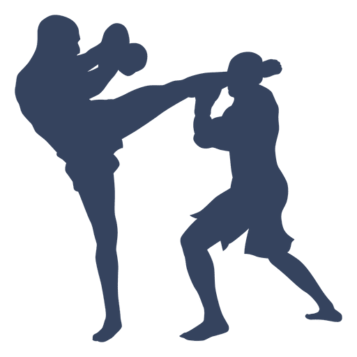 Silhouette boxing kickboxing fight
