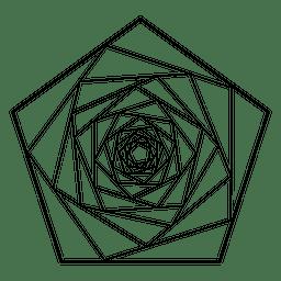 Esboço de geometria sagrada do Pentágono em espiral