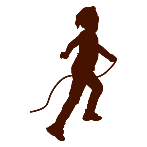 Kid playing rope silhouette