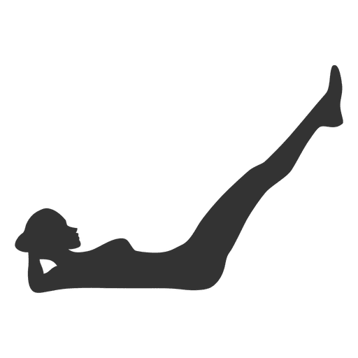 Fitness woman silhouette doing abs Transparent PNG
