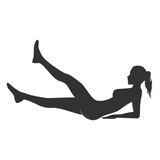 Fitness woman silhouette lifting legs in gray