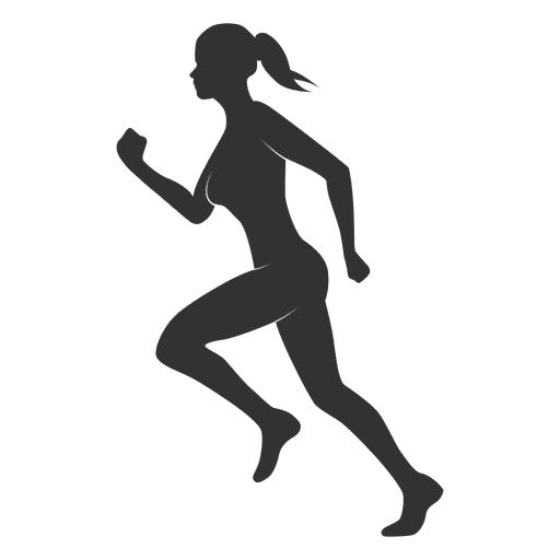 Fitness woman silhouette running Transparent PNG