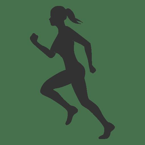 Silueta de mujer fitness corriendo