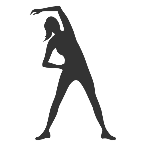 Fitness woman silhouette streching
