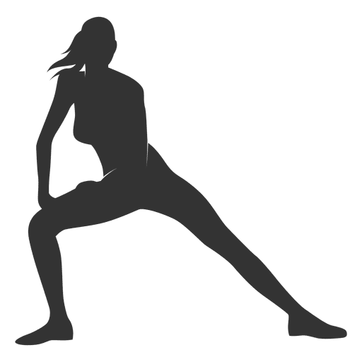Fitness woman silhouette streching legs Transparent PNG