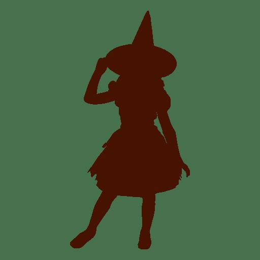 Silueta de disfraz de bruja niña