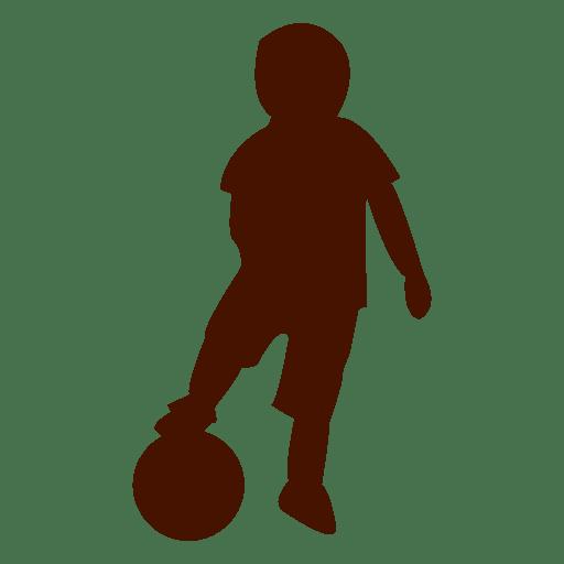 Niño jugando silueta de pie de pelota