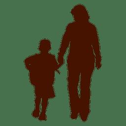 Silhueta de família mãe de criança