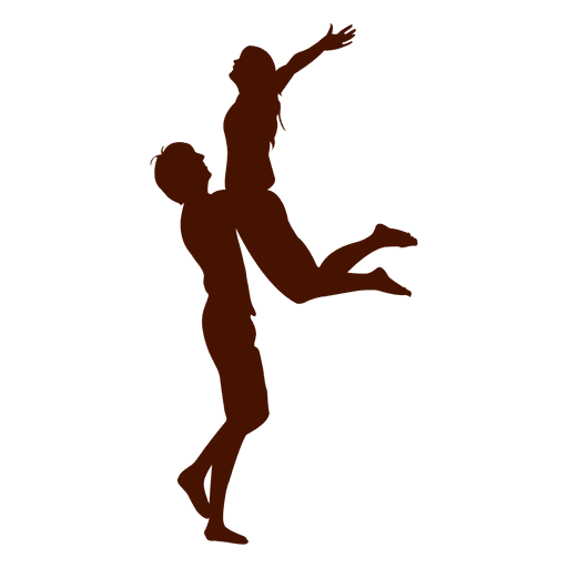 Pareja abrazo salto