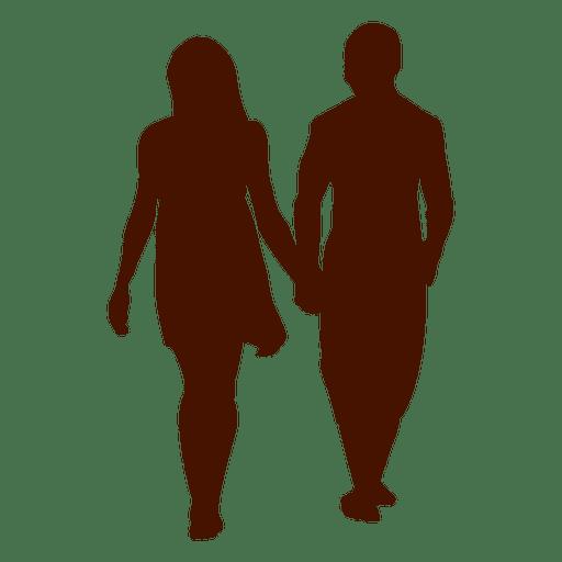 Silhueta romântica da caminhada da família dos pares Transparent PNG
