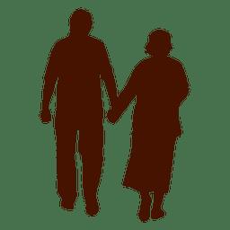 Silueta de pareja senior