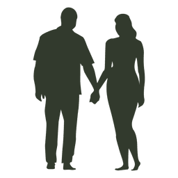 Couple hand in hand silhouette