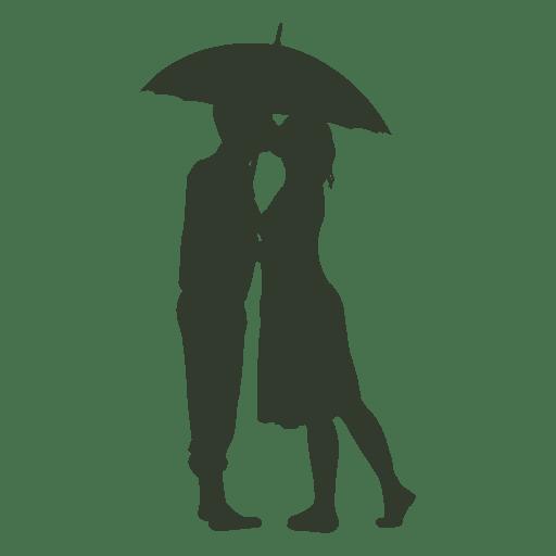 Imagem Casal Png ~ Casal se beijando silhueta guarda chuva Baixar PNG SVG Transparente