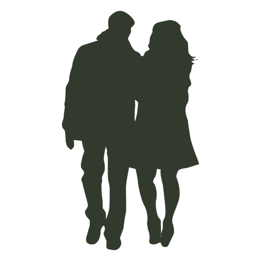 Couple walking silhouette winter Transparent PNG