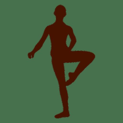 Silueta de pose de equilibrio de bailarina