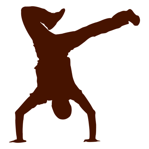 Bailarina masculina break dance silueta 1 Transparent PNG